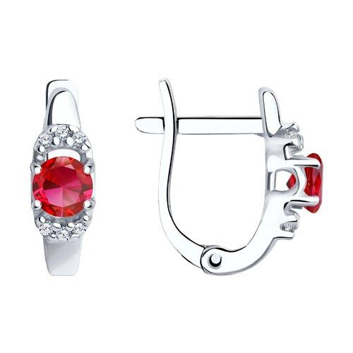 Серьги из серебра с корундами рубиновыми (синт.) и фианитами (84020016) - фото