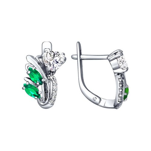 Серьги из серебра с зелеными фианитами (94020255) - фото