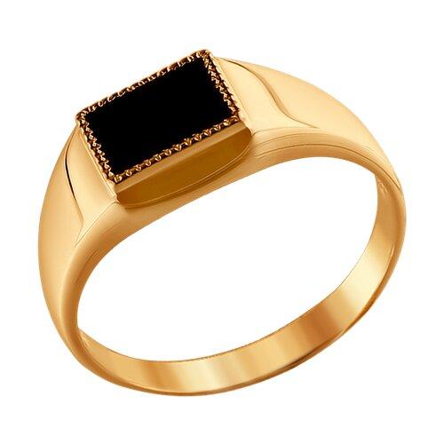 Перстень из красного золота с черным ониксом