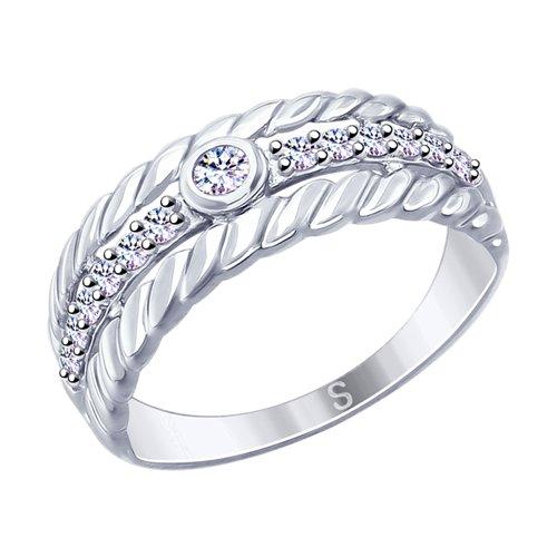 Кольцо из серебра с фианитами (94012628) - фото