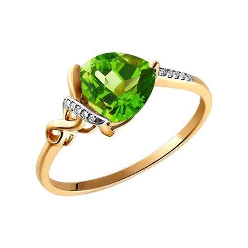 Кольцо из золота с фианитами и хризолитом