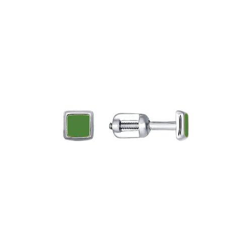 Серьги-пусеты из серебра с зелёной эмалью