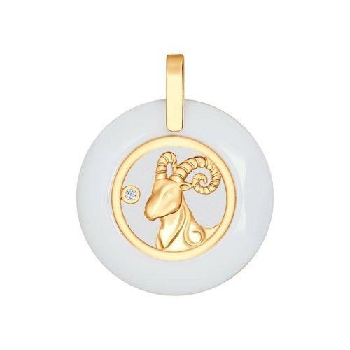 Керамическая подвеска «Знак зодиака Овен» из золота