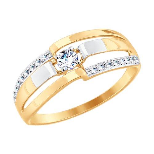 Кольцо из золота с фианитами (017647-4) - фото