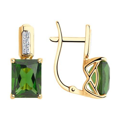 Серьги из золота с зелеными ситаллами и фианитами 725836 SOKOLOV фото