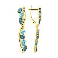 Серьги из желтого золота с голубыми и синими топазами
