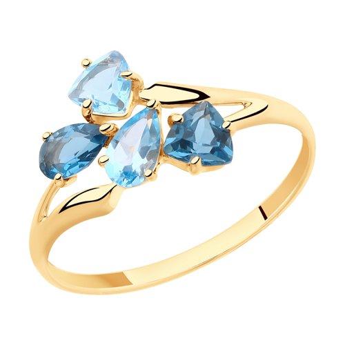 Кольцо из золота с голубыми и синими топазами (715418) - фото
