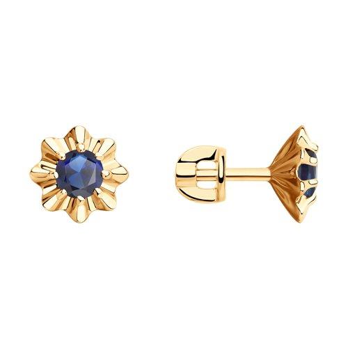 Серьги из золота с синими корунд (синт.) (726083) - фото