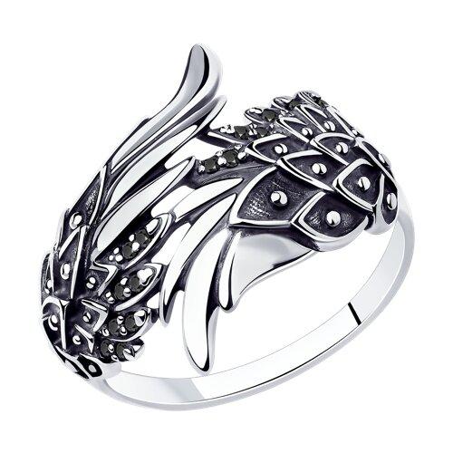 Кольцо из чернёного серебра с чёрными фианитами (95010096) - фото