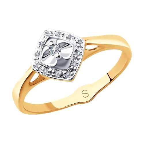 Кольцо из комбинированного золота с бриллиантами (1011836) - фото