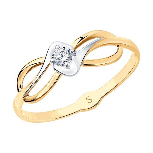 Кольцо из золота с фианитом (017977) - фото