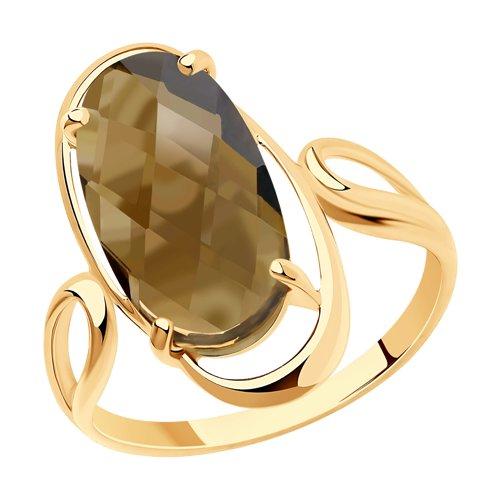 Кольцо из золота с раухтопазом (716029) - фото