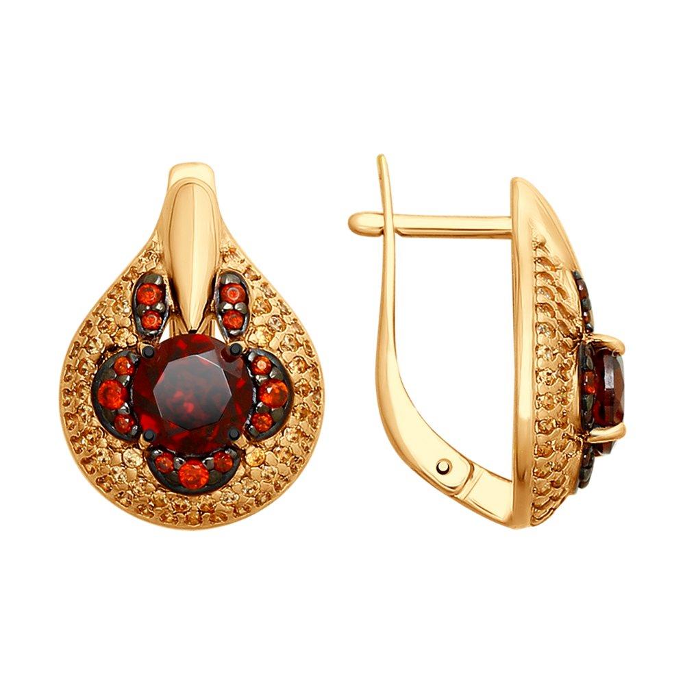 Серьги SOKOLOV из золочёного серебра с гранатами и жёлтыми и красными фианитами
