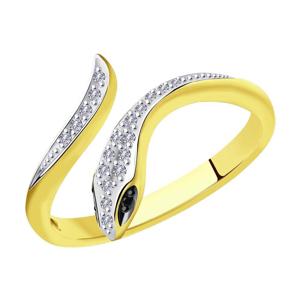 Фото - Кольцо SOKOLOV из желтого золота с бриллиантами и черными облагороженными бриллиантами подвеска sokolov из желтого золота с бриллиантами и черными облагороженными бриллиантами