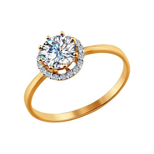 Кольцо из золота со Swarovski Zirconia (81010041) - фото