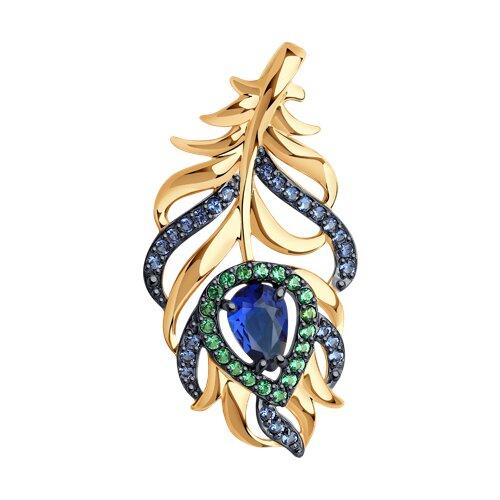 Подвеска из золота с зелеными и синими фианитами