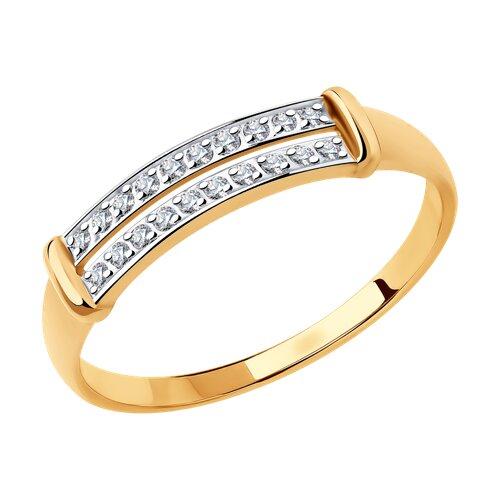 Кольцо из золота с фианитами (018359) - фото