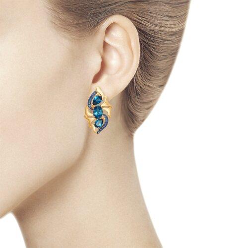 Серьги из золота с синими топазами и синими фианитами (725078) - фото №3