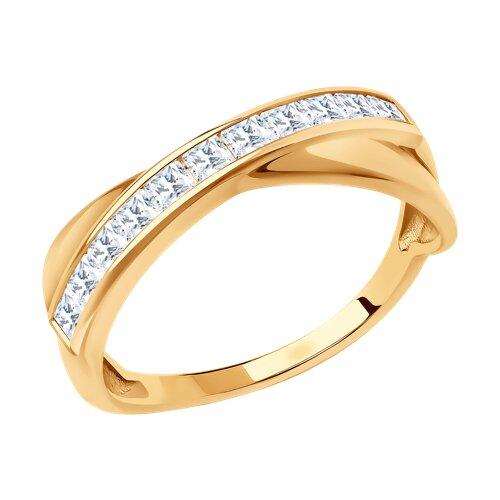 Кольцо из золота с фианитами 018629 sokolov фото