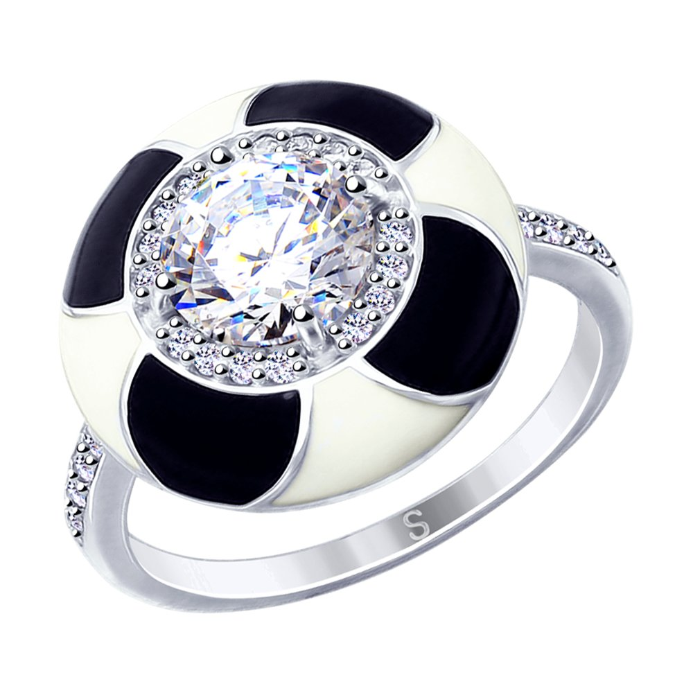 Фото - Кольцо SOKOLOV из серебра с эмалью и фианитами кольцо sokolov из серебра с эмалью и фианитами