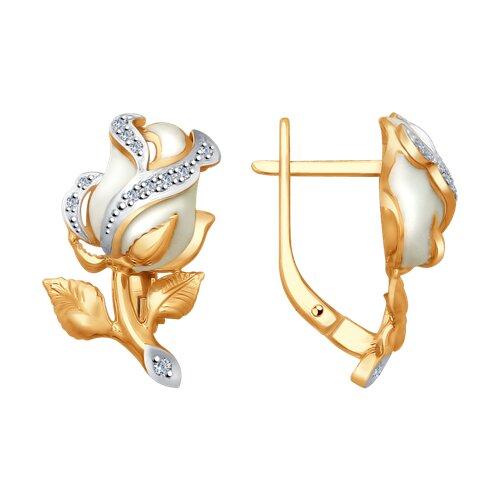 Серьги из золота с эмалью и бриллиантами 1021208 SOKOLOV фото