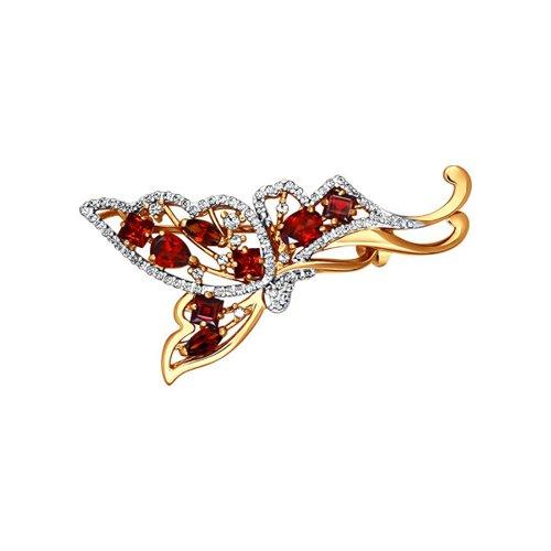 Брошь «Бабочка» SOKOLOV из красного золота