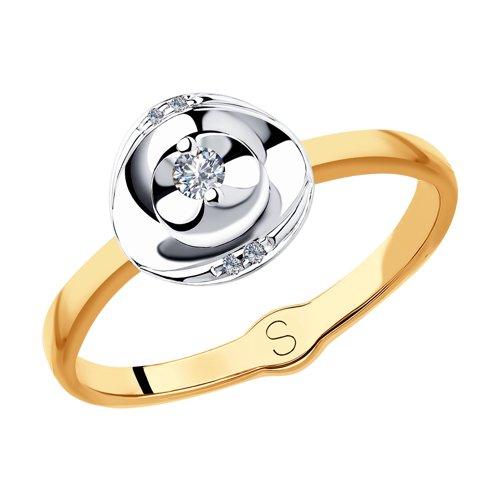 Кольцо из комбинированного золота с бриллиантами (1011825) - фото