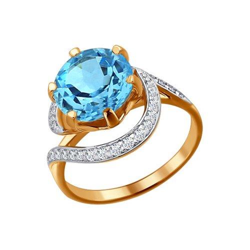 Женское золотое кольцо с голубым топазом в окружении фианитов цена