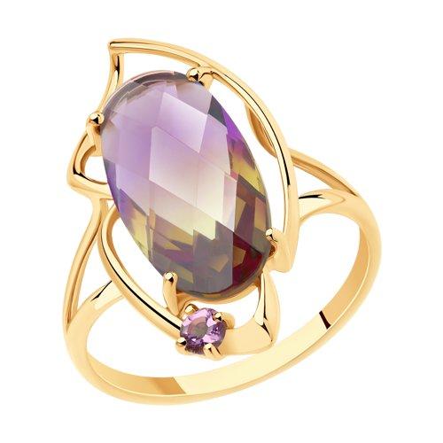 Кольцо из золота с аметистом и ситаллом (715755) - фото