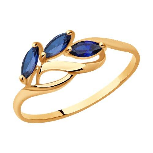 Кольцо из золота с корундами сапфировыми (синт.) (714605) - фото