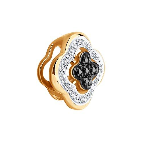Подвеска из золота с бесцветными и чёрными бриллиантами 7030003 SOKOLOV фото 3
