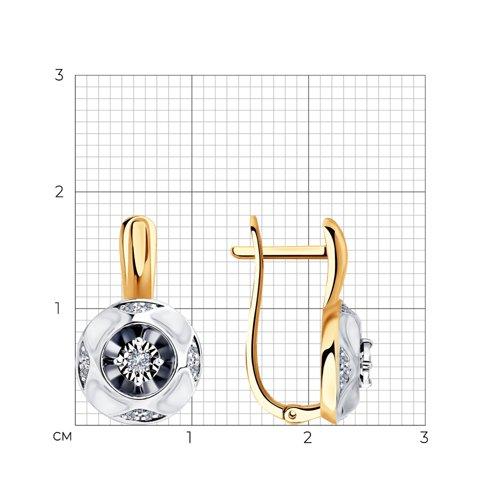 Серьги из комбинированного золота с бриллиантами 1021324 SOKOLOV фото 2