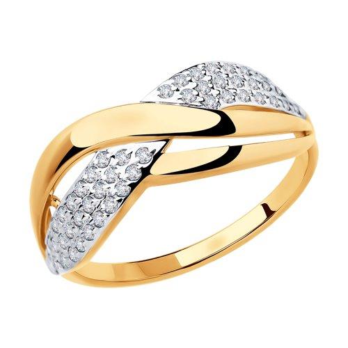 Кольцо из золота с фианитами (018459) - фото