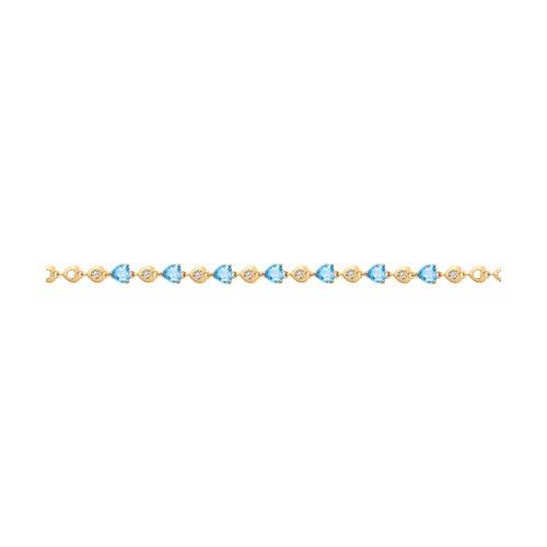 Браслет из золота с топазами и фианитами