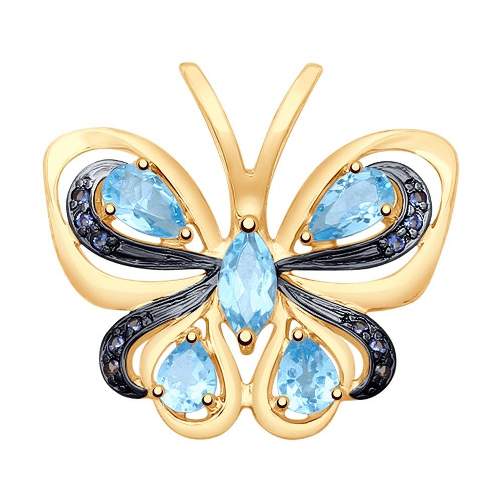 Фото - Подвеска SOKOLOV из золота с топазами и фианитами подвеска синица из золота с финифтью и топазами