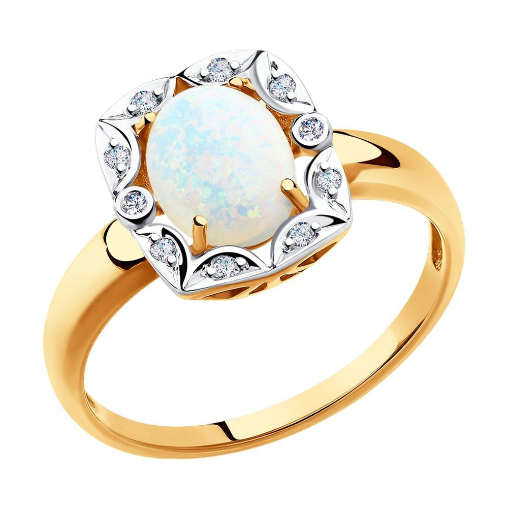 Кольцо SOKOLOV из золота с бриллиантами и опалом фото