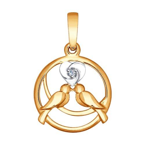 Золотая подвеска с бриллиантом (1030570) - фото