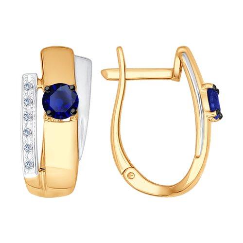 Серьги из золота с бриллиантами и сапфирами (2020861) - фото