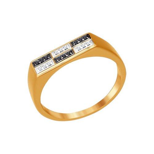 Печатка из золота с фианитами (015412) - фото