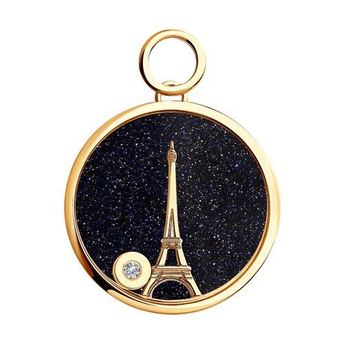 Золотая подвеска la tour eiffel с бриллиантом