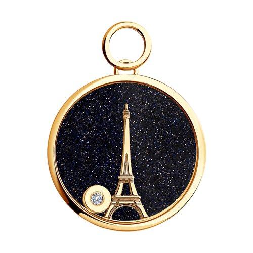 Золотая подвеска la tour eiffel с бриллиантом (1030424) - фото