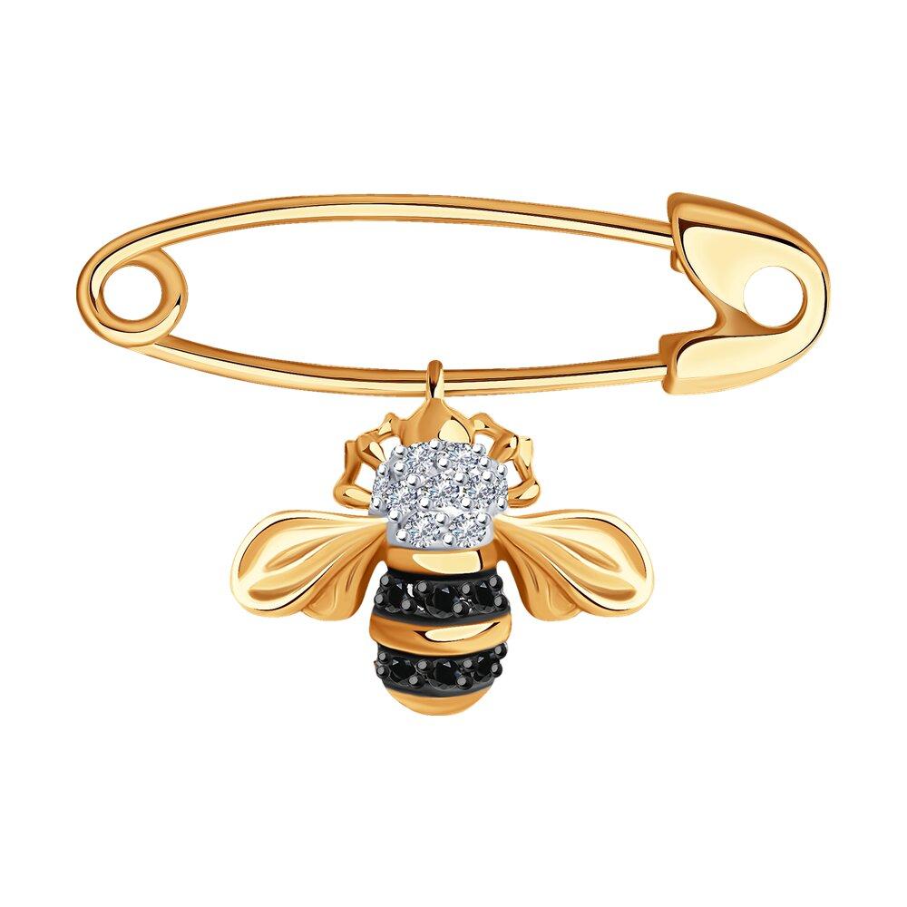 Фото - Брошь SOKOLOV из золота с бриллиантами и черными облагороженными бриллиантами подвеска sokolov из желтого золота с бриллиантами и черными облагороженными бриллиантами
