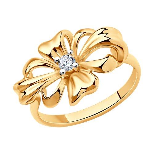 Кольцо из золочёного серебра с фианитом (93010676) - фото