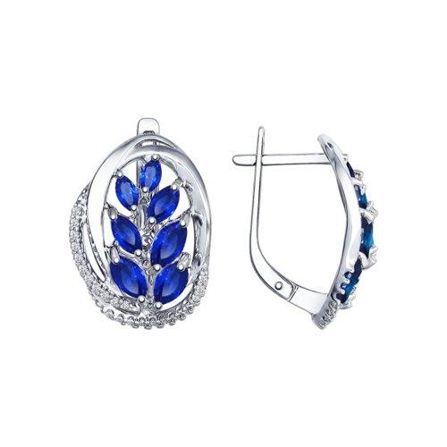 Серьги из серебра с бесцветными и синими фианитами (94022396) - фото
