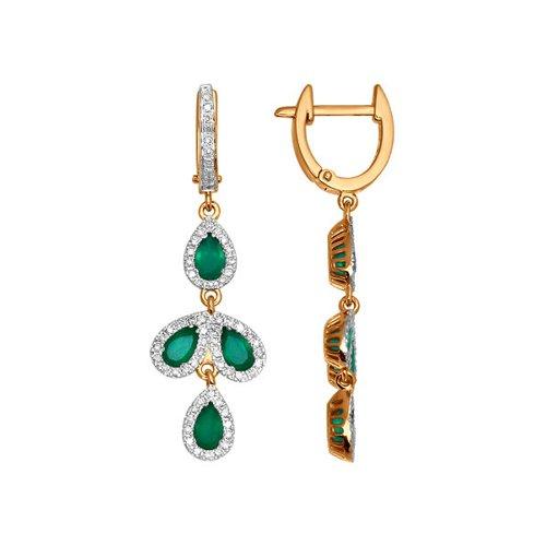 Обрамлённые бриллиантами длинные серьги с зелёными агатами