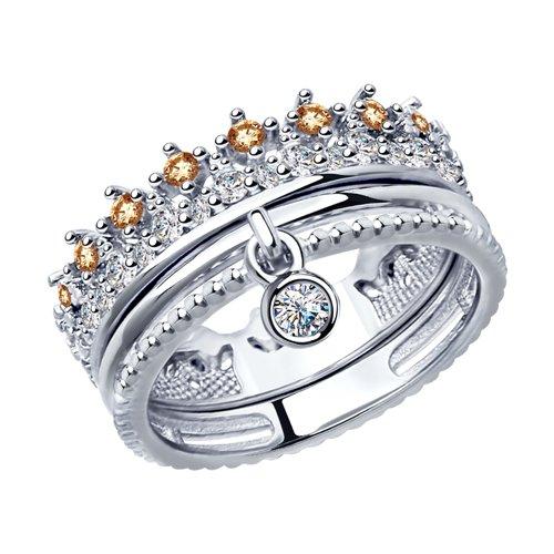 Кольцо из серебра с бесцветными и жёлтыми фианитами (94012695) - фото