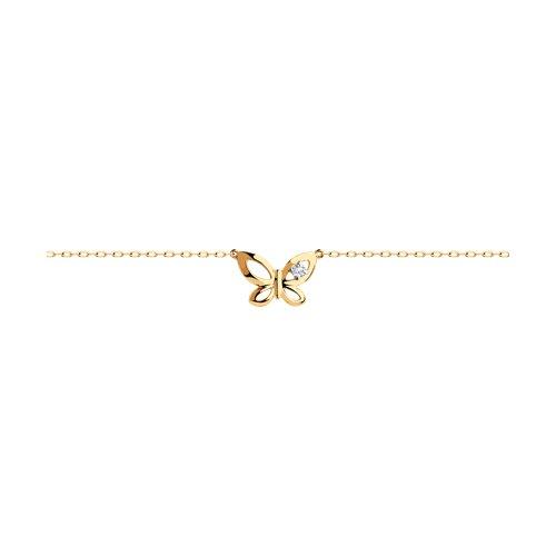 Браслет из золота с фианитом (051068) - фото