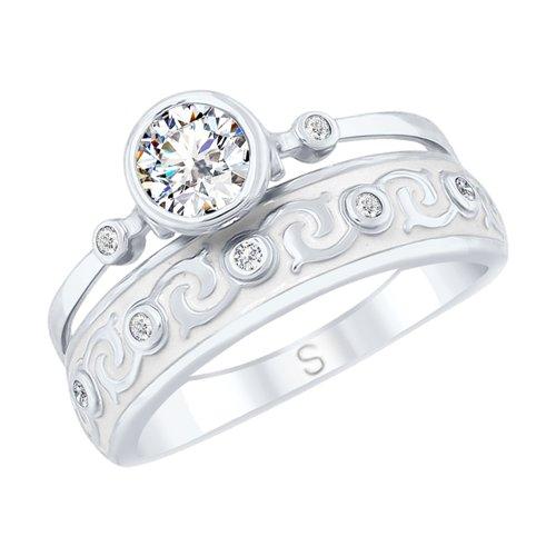 Кольцо из серебра с эмалью и горным хрусталем и фианитами (92011628) - фото