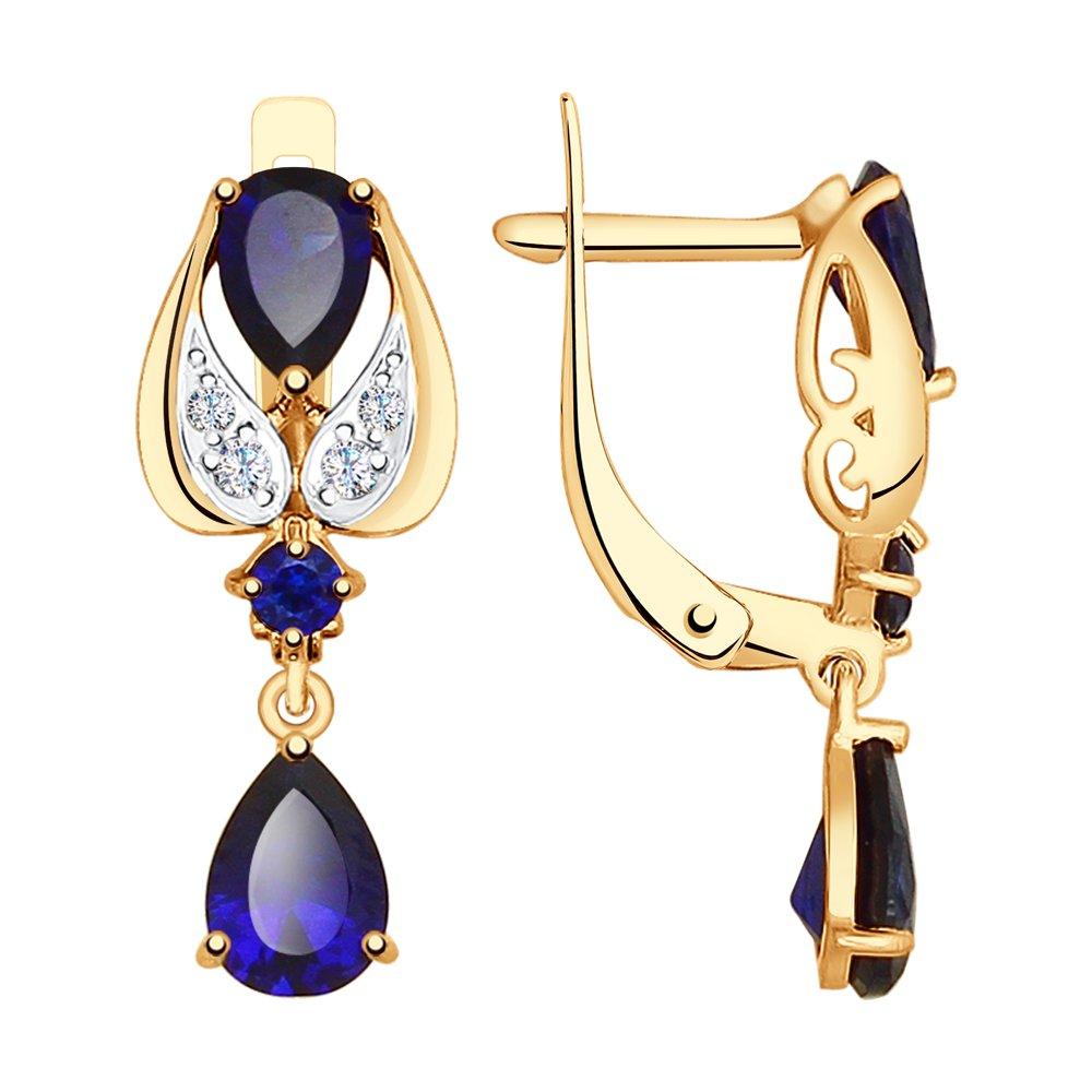 Серьги SOKOLOV из золота с синими корундами (синт.) и фианитами серьги sokolov из золота с синими корундами и фианитами