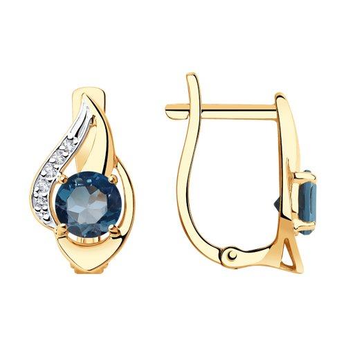 Серьги из золота с синими топазами и фианитами (725976) - фото